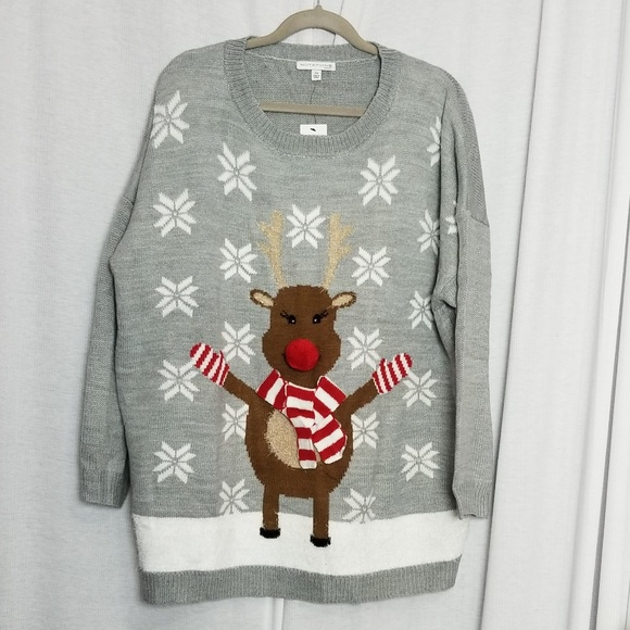 80055e09c48 Happy Rudolph Ugly Christmas Sweater with 3D Nose